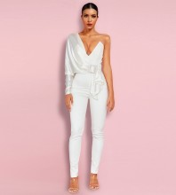 White Metal Ornamental Buckle Maxi Long Sleeve One Shoulder Bodycon Jumpsuits HI1109-White