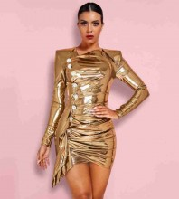Gold V Neck Long Sleeve Mini Glass Buckle Bodycon Dress HI1110-Gold