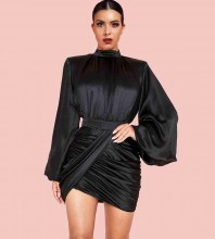 Black High Neck Long Sleeve Mini Wrinkled Bodycon Dress HI1113-Black
