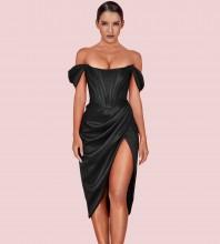 Black Slit Wrinkled Over Knee Short Sleeve Off Shoulder Bodycon Dress HI1116-Black