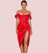 Red Wrinkled Slit Over Knee Short Sleeve Off Shoulder Bodycon Dress HI1116-Red