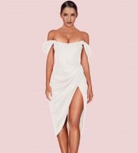 White Slit Wrinkled Over Knee Short Sleeve Off Shoulder Bodycon Dress HI1116-White