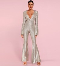 Maxi Silver V Neck Long Sleeve Bell-Bottoms Bodycon Jumpsuits HI1117-Silver