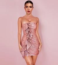 Mini Pink Strapless Sleeveless Frill Wrinkled Bodycon Dress HI1121-Pink