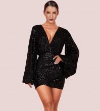 Mini Black V Neck Long Sleeve Puff Sleeve Bodycon Dress HI1125-Black