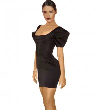 Mini Black Square Collar Short Sleeve Striped Backless Bodycon Dress HI1134-Black