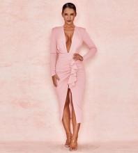 Pink Frill Wrinkled Over Knee Long Sleeve V Neck Bodycon Dress HI1137-Pink