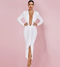 White Slit Ruched Maxi Long Sleeve V Neck Bodycon Dress HI1146-White