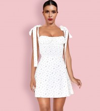 White Tie Floral Mini Sleeveless Strappy Bodycon Dress HI1163-White