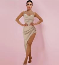 Apricot Slit Frill Over Knee Sleeveless Strappy Bodycon Dress HI1166-Apricot