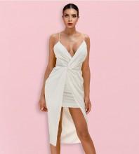 White Backless Frill Knee length Sleeveless Strappy Bodycon Dress HI1167-White