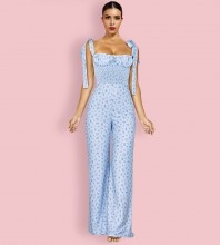 Blue Tie Wrinkled  Sleeveless Strappy Bodycon Jumpsuits HI1170-Blue