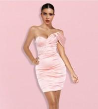 Pink Backless Wrinkled Mini Short Sleeve Strapless Bodycon Dress HI1179-Pink