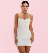 White Backless Plain Mini Sleeveless Strappy Bodycon Dress HI1180-White