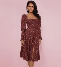 Jujube Red Printing Slit Over Knee Long Sleeve Square Collar Bodycon Dress HI1196-Jujube-Red