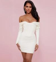 White Backless Striped Mini Long Sleeve Off Shoulder Bodycon Dress HI1197-White