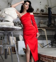 Red Slit Asymmetrical Over Knee Long Sleeve One Shoulder Bodycon Dress HI1198-Red
