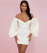 White Backless Wrinkled Mini Long Sleeve Off Shoulder Bodycon Dress HI1200-White