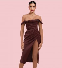 Dark Wine Slit Wrinkled Over Knee Short Sleeve Off Shoulder Bodycon Dress HI1201-Dark-Wine