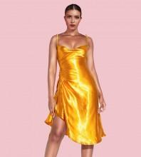 Gold Slit Wrinkled Midi Sleeveless Strappy Bodycon Dress HI1205-Gold