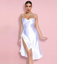 White Slit Wrinkled Midi Sleeveless Strappy Bodycon Dress HI1205-White