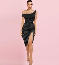 Black Striped Asymmetrical Midi Short Sleeve One Shoulder Bodycon Dress HI1209-Black