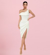 White Slit Striped Midi Short Sleeve One Shoulder Bodycon Dress HI1209-White