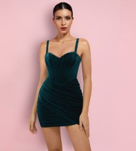 Green Backless Ruched Mini Sleeveless Strappy Bodycon Dress HI1212-Green