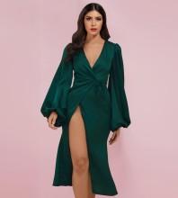 Green Slit Tie Over Knee Long Sleeve V Neck Bodycon Dress HI1214-Green