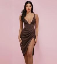 Coffee Wrinkled Striped Midi Sleeveless Strappy Bodycon Dress HI1217-Coffee