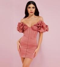 Rose Wrinkled Striped Mini Short Sleeve Off Shoulder Bodycon Dress HI1221-Rose