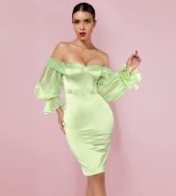 Green Backless Mesh Midi Long Sleeve Off Shoulder Bodycon Dress HI1223-Green