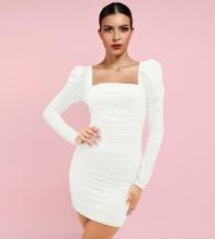 White Distinctive Wrinkled Mini Long Sleeve Square Collar Bodycon Dress HI1228-White