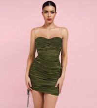 Green Backless Wrinkled Mini Sleeveless Strappy Bodycon Dress HI1229-Green