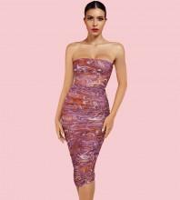 Rose Patterned Wrinkled Midi Sleeveless Strapless Bodycon Dress HI1235-Rose