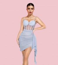 Blue Wrinkled Mesh Mini Sleeveless Strappy Bodycon Dress HI1244-Blue