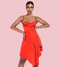 Red Backless Slit Midi Sleeveless Strappy Bodycon Dress HI1255-Red