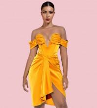 Gold Backless Slit Midi Short Sleeve Off Shoulder Bodycon Dress HI1256-Gold