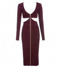 Wine V Neck Long Sleeve Maxi Cut Out Sexy Bandage Dress HI919-Wine
