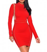 Red Round Neck Long Sleeve Mini Mesh Side Beaded Popular Bandage Dress HI924-Red