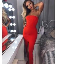 Orange Strapless Sleeveless Maxi High Slitted Evening Bodycon Dress HI963-Orange