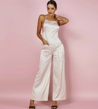 Nude Strapy Sleeveless Maxi High Quality Bodycon Jumpsuits HI965-Nude