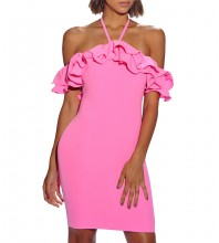 Pink Halter Capsleeve Mini Fashion Bandage Dress HI973-Pink