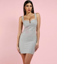 Silver Strapy Sleeveless Mini Cut Out With Lining Hot Bodycon Dress HI982-Silver