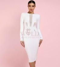 White Round Neck Long Sleeve Over Knee Mesh Fashion Bandage Dress HI991-White
