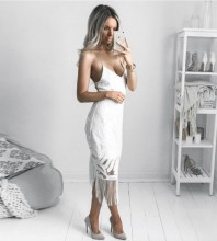 Rayon - White Strapy Sleeveless Over Knee Lace Tassels Party Bandage Dress HJ080139-White