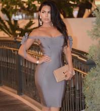 Rayon - Gray Off Shoulder Sleeveless Mini Evening Bandage Dress HJ387-Gray