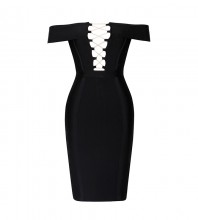 Rayon - Black Off Shoulder Sleeveless Mini Lace Up Sexy Bandage Dress HJ401-Black