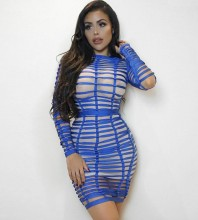 Rayon - Blue Round Neck Long Sleeve Mini Hollow Out Mesh Sexy Bandage Dress HJ442-Blue