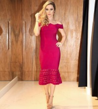 Rayon - Rose Off Shoulder Cap Sleeve Over Knee Fashion Bandage Dress HJ476-Rose